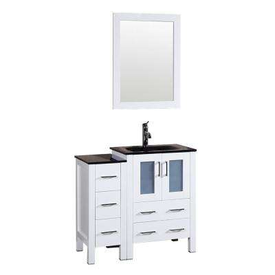 36 in. W Single Bath Vanity in White with Tempered Glass Vanity Top with Black Basin and Mirror
