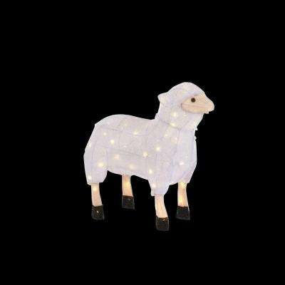 22 in. 60-Light LED Tinsel Sheep