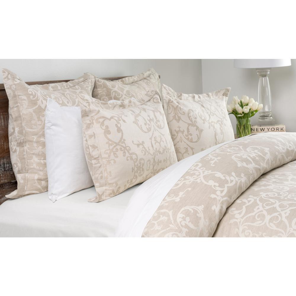 Lido Jacquard Natural Linen Blend Queen Duvet Cover