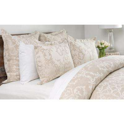 Lido Jacquard Natural Linen Blend Queen Duvet Cover