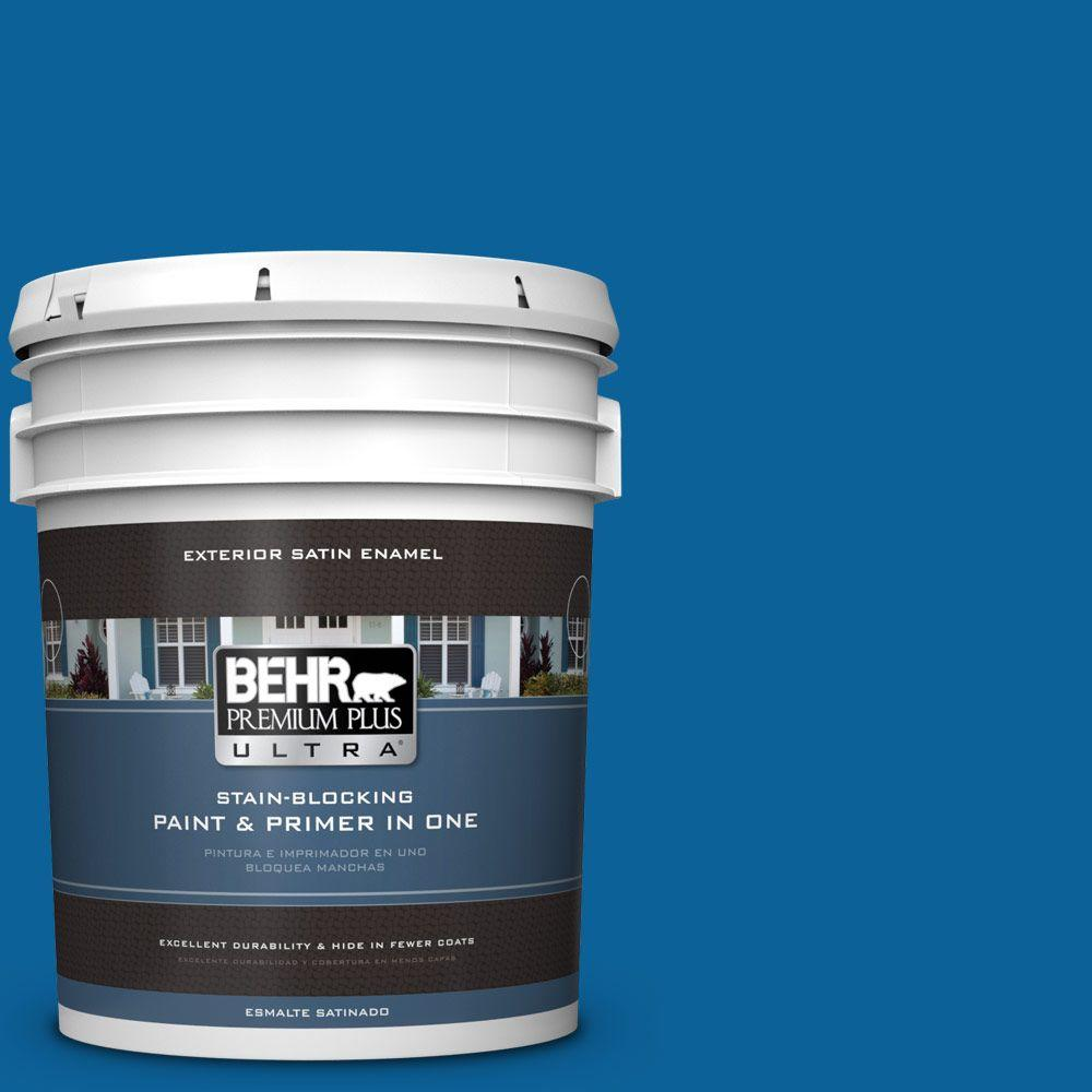 BEHR Premium Plus Ultra 5-gal. #570B-7 Cobalt Glaze Satin Enamel Exterior Paint