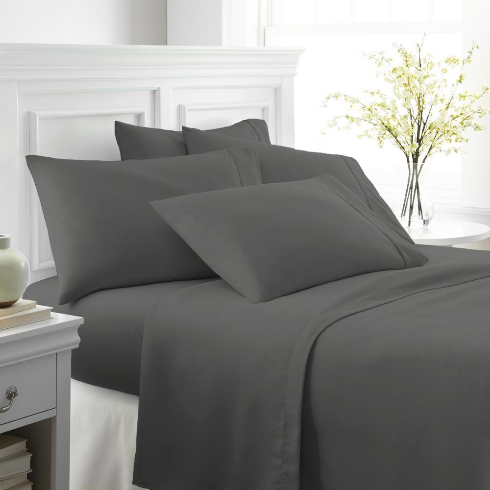 Performance Gray Queen 6-Piece Bed Sheet Set