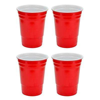 16 oz. Red Hard Plastic Cup (4-Pack)