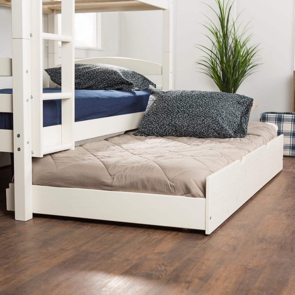 Walker Edison Furniture Company White Solid Wood Twin Trundle Bed