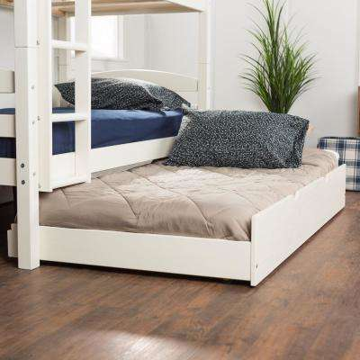 White Solid Wood Twin Trundle Bed