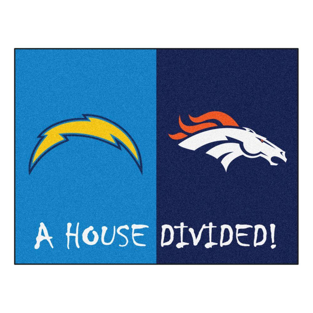 bcee0fc7 FANMATS NFL Chargers/Broncos Blue House Divided 3 ft. x 4 ft. Area Rug