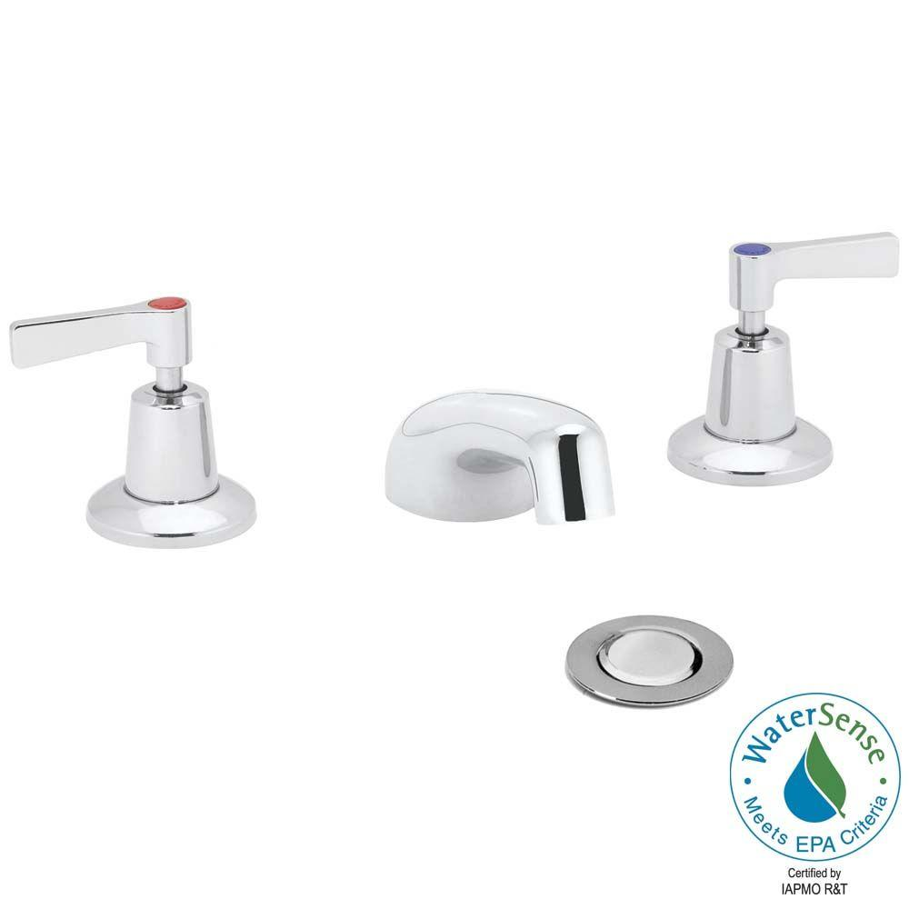Speakman Commander 8 in. Widespread 2-Handle Bathroom Faucet in Polished Chrome with Strainer Drain-DISCONTINUED