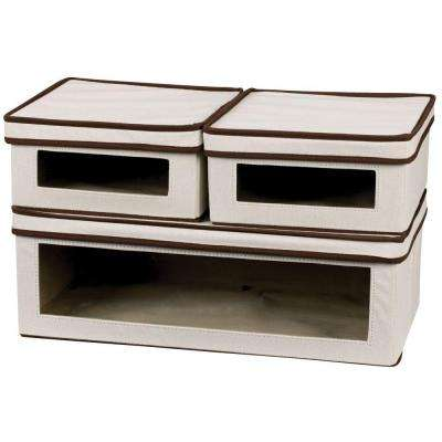 Natural Canvas Vision Box Set (2 Small, 1 Large) with Brown Trim (3-Piece)