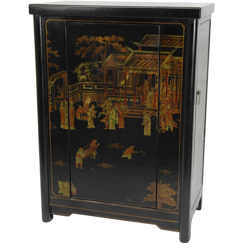 Incroyable Oriental Furniture Black Lacquer Wine Cabinet