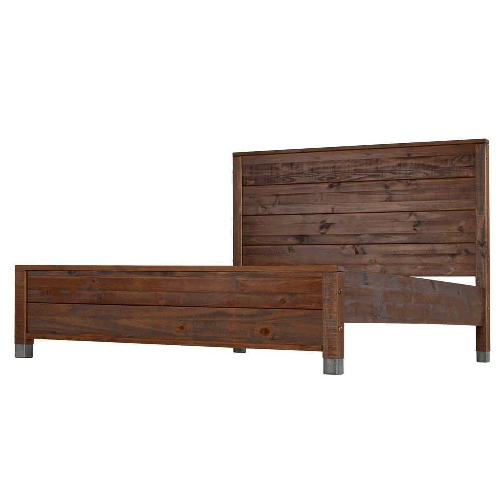 Enjoyable Camaflexi Baja Walnut King Size Panel Headboard Platform Bed Andrewgaddart Wooden Chair Designs For Living Room Andrewgaddartcom