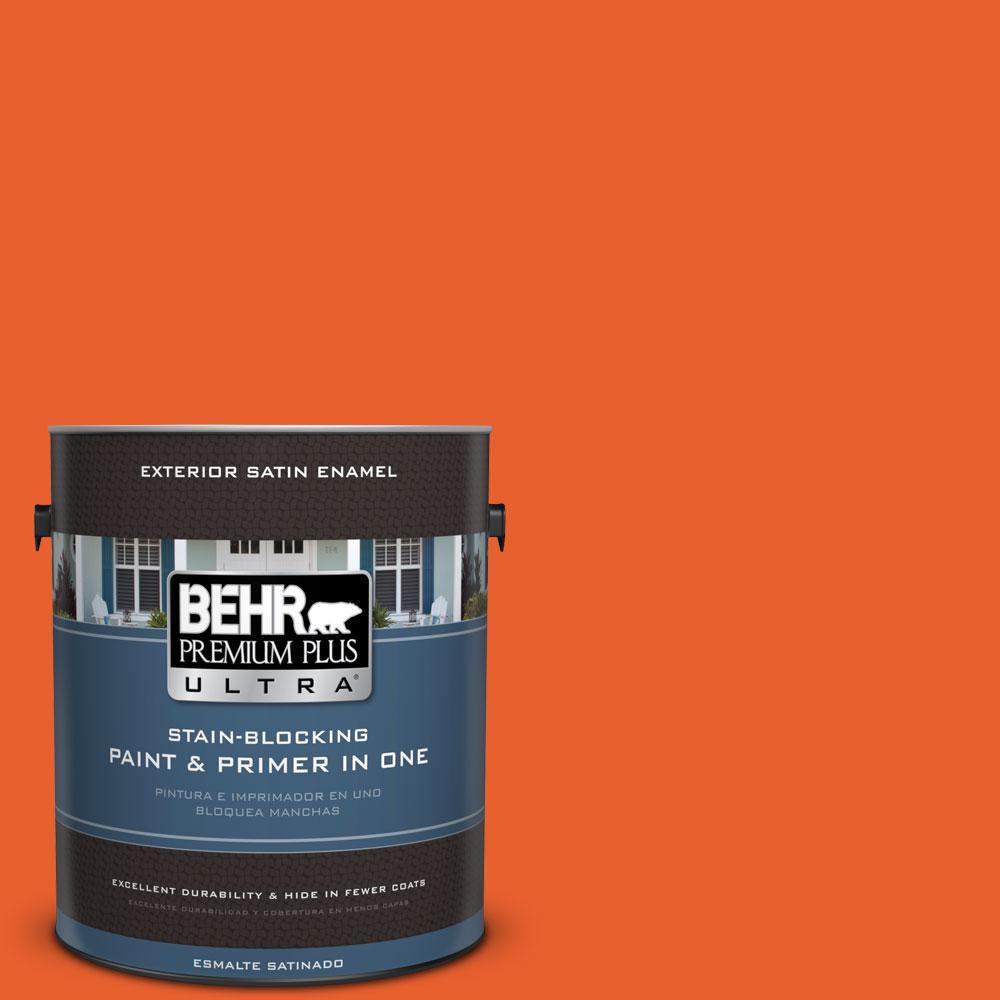 BEHR Premium Plus Ultra 1-gal. #210B-7 Flame Satin Enamel Exterior Paint
