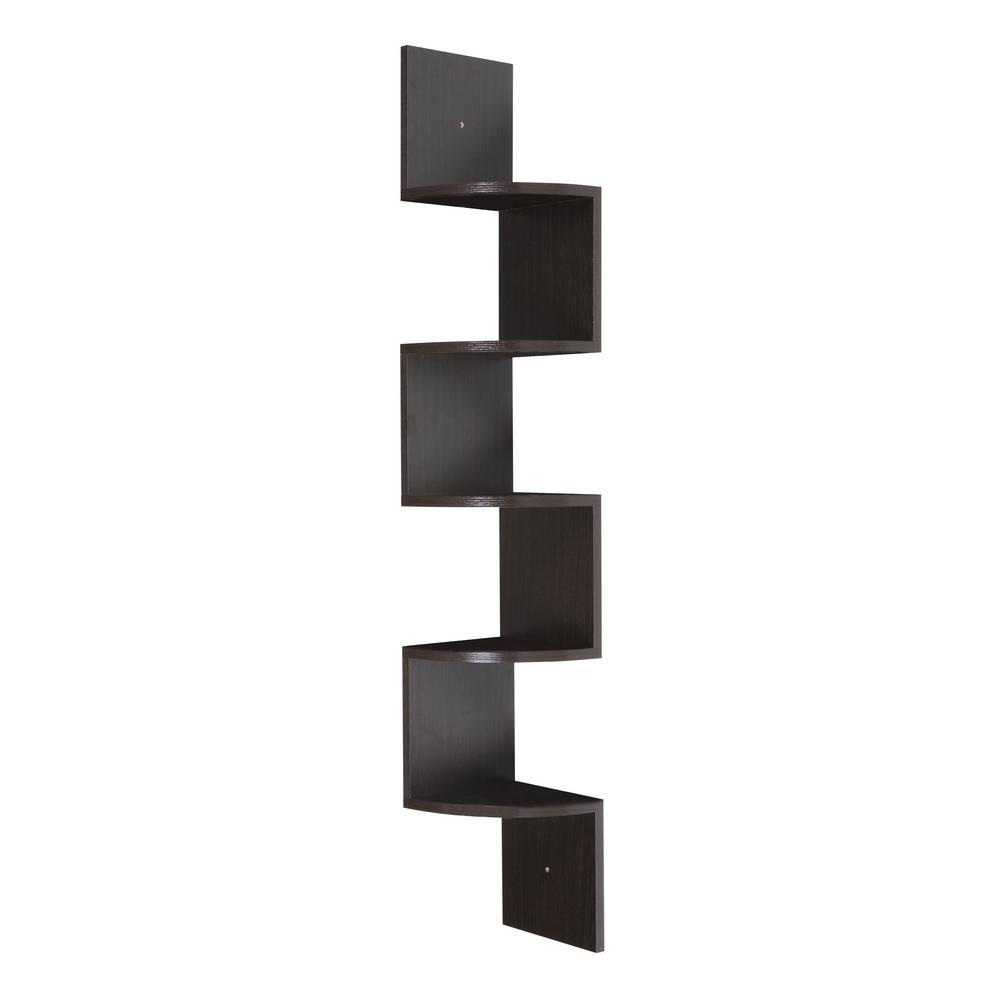 OneSpace 50-SH01DW 5-Tier Dark Walnut Large Corner Wall