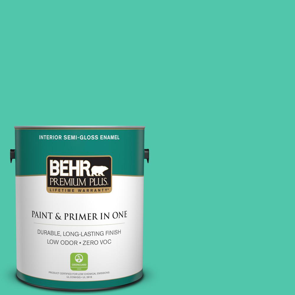 1-gal. #480B-4 Shoreline Green Zero VOC Semi-Gloss Enamel Interior Paint