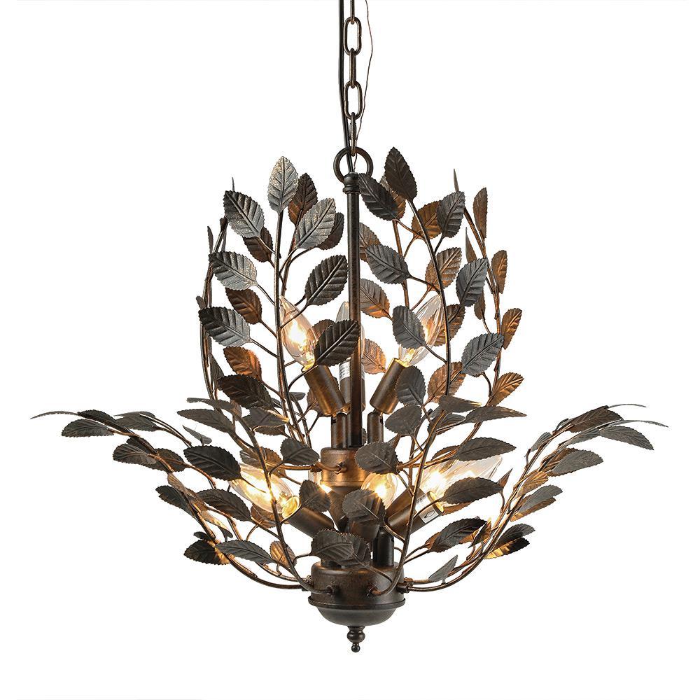 9-Light Bronze Leaves Chandelier