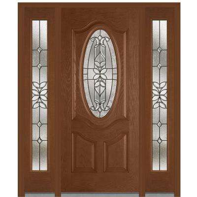 60 in. x 80 in. Cadence Right-Hand Inswing Oval Lite Decorative Stained Fiberglass Oak Prehung Front Door with Sidelites