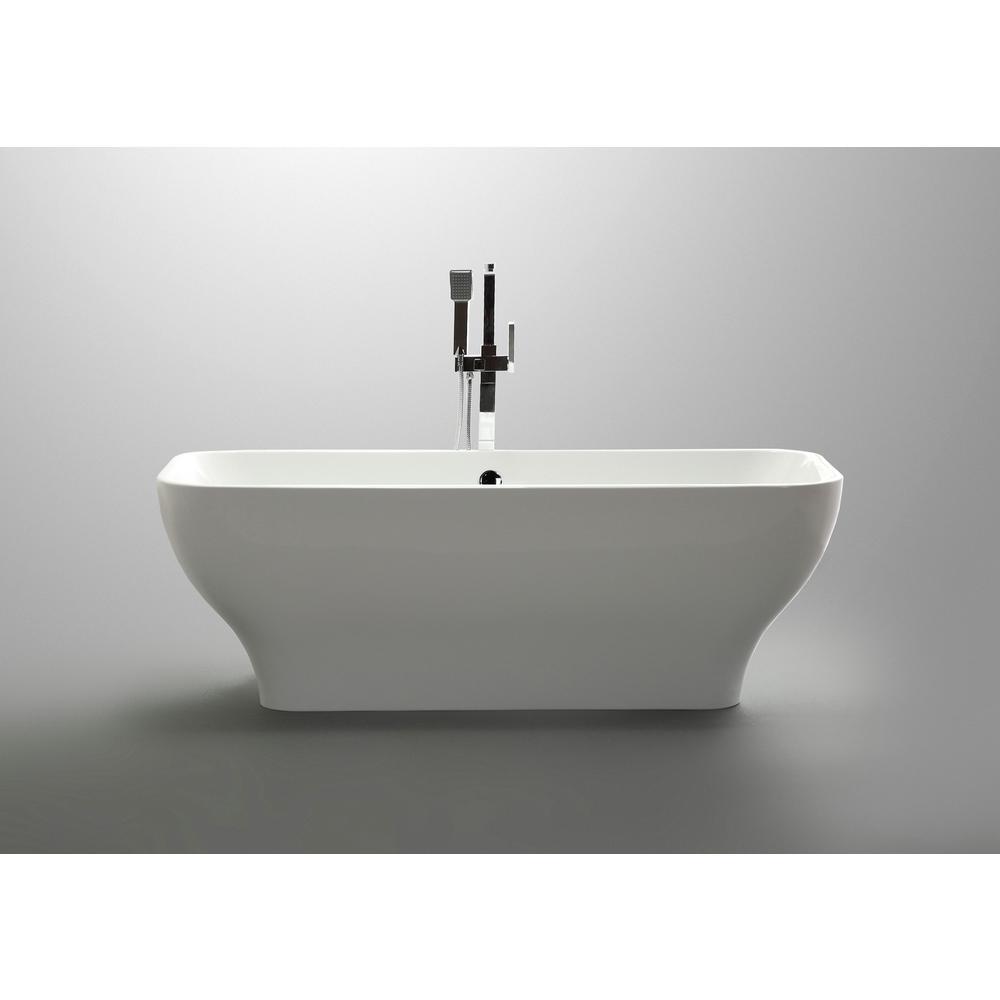Bellaterra Home Novara 59 04 In Acrylic Flatbottom Non Whirlpool Freestanding Bathtub In Glossy White Ba6829 The Home Depot
