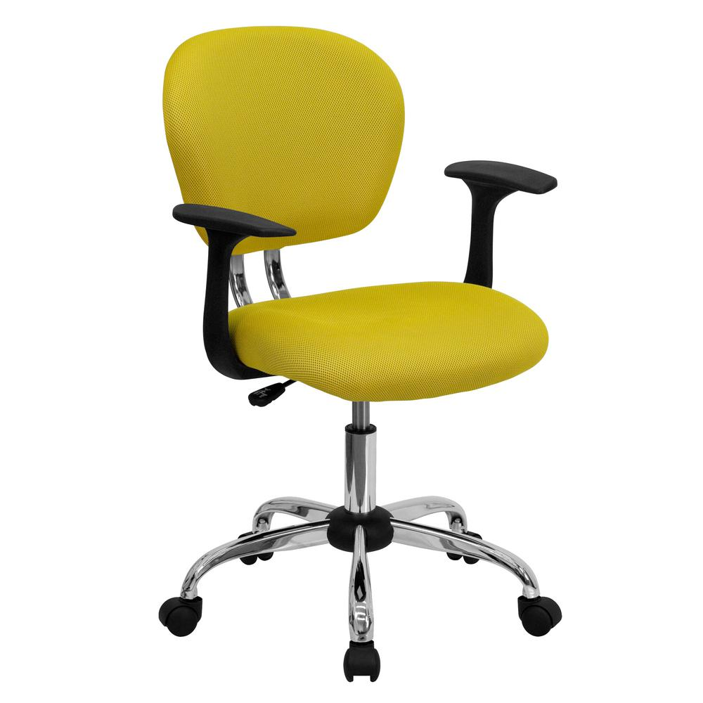 flash furniture mid back yellow mesh swivel task chair with chrome