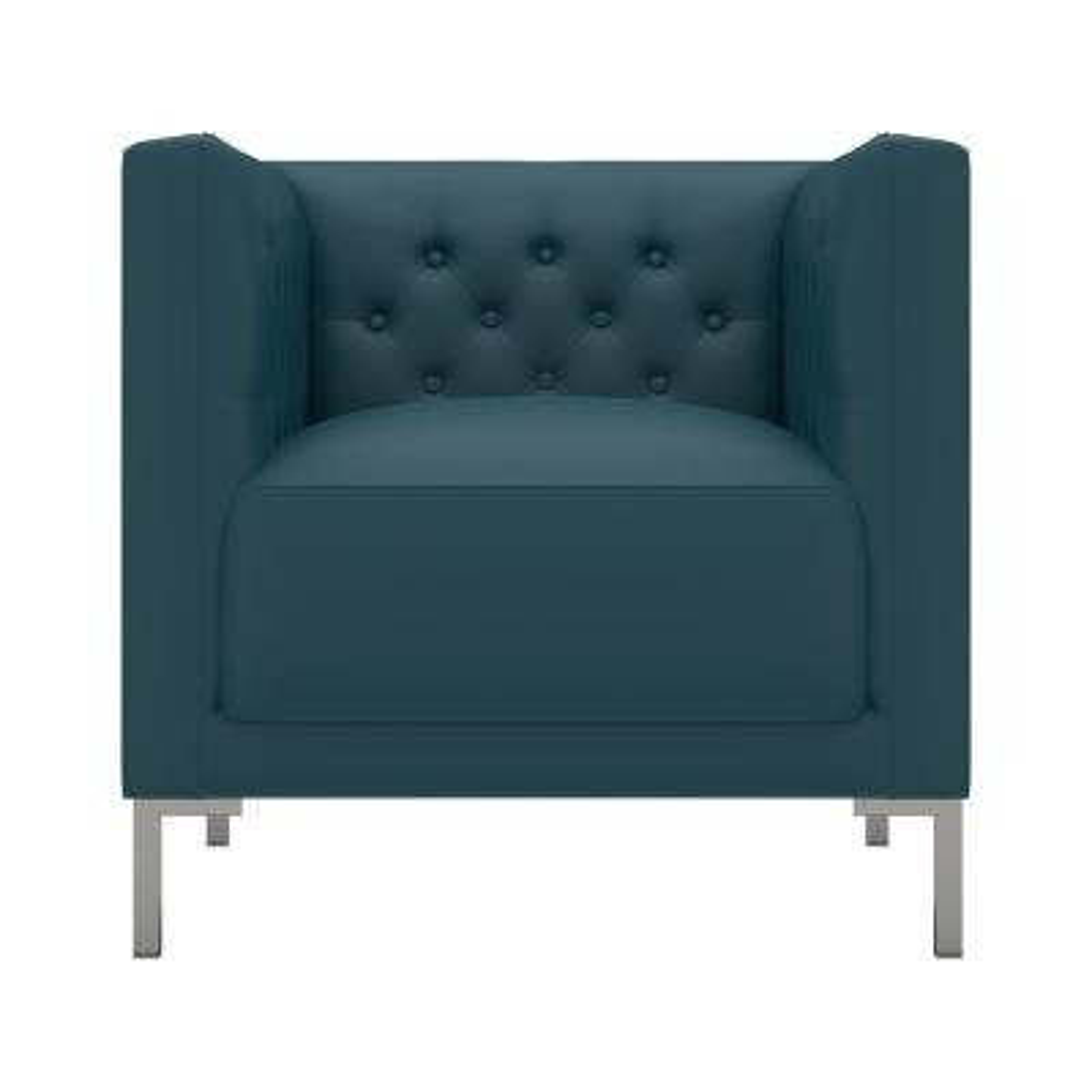 Eamon Caribbean Blue Tuff Stuff Fabric Button Tufted Club Chair