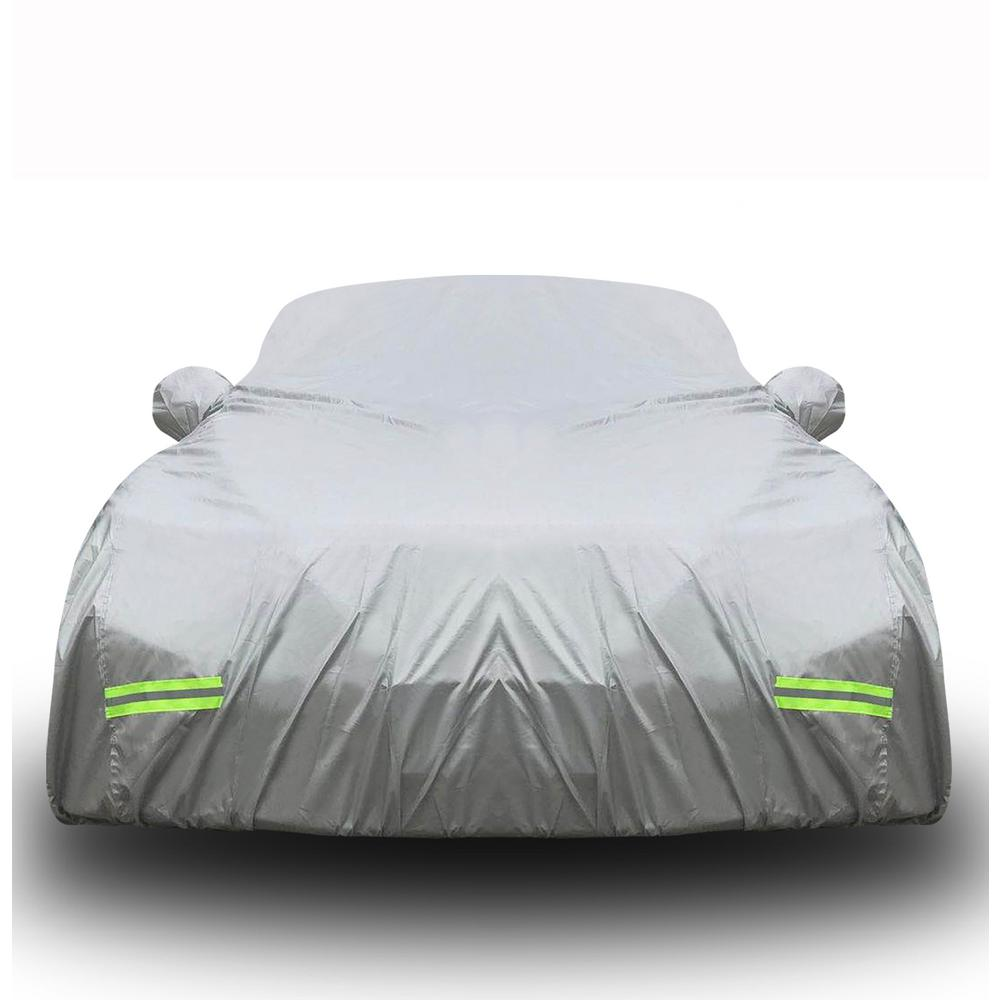 Mockins 190 x 75 x 60 190T Silver Polyester Car Cover with Zipper Door The All Weather Car Cover is Breathable /& Water Resistant to Protect Your Vehicle from All Elements