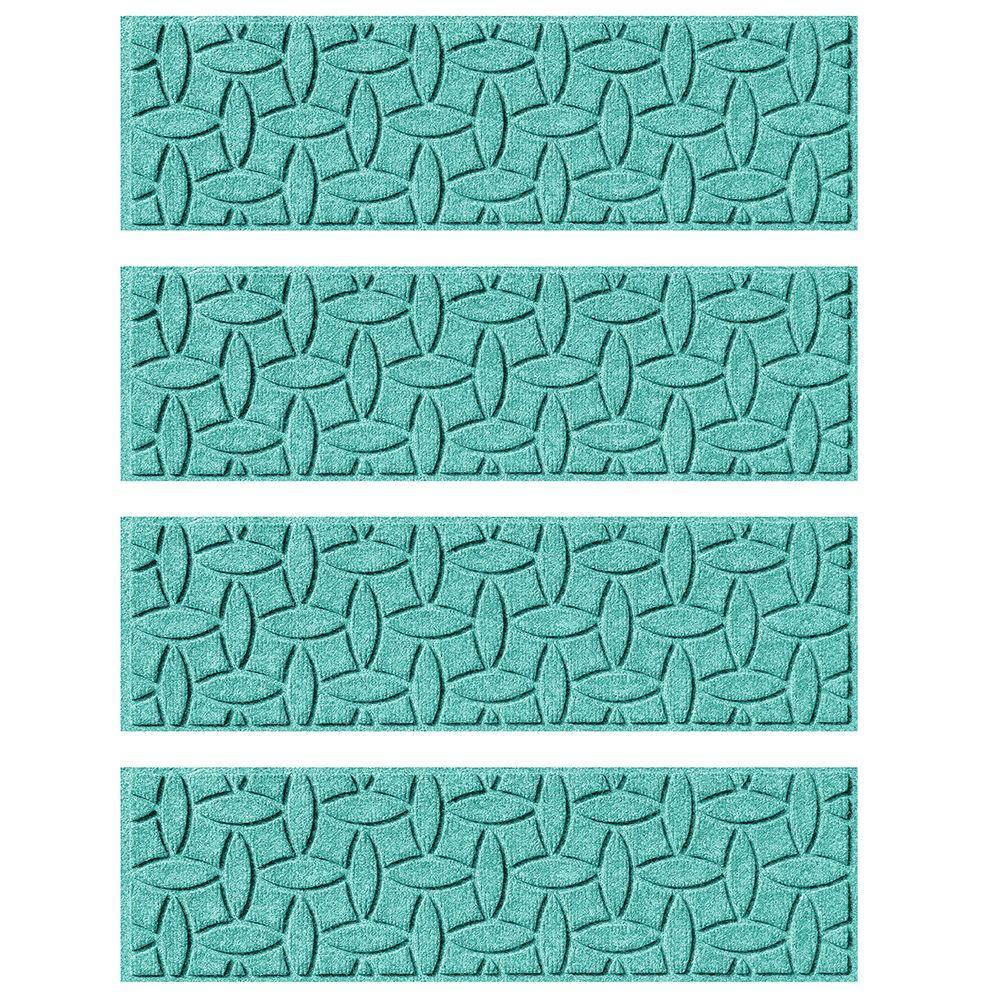 Aquamarine 8.5 in. x 30 in. Ellipse Stair Tread Cover (Set of 4)