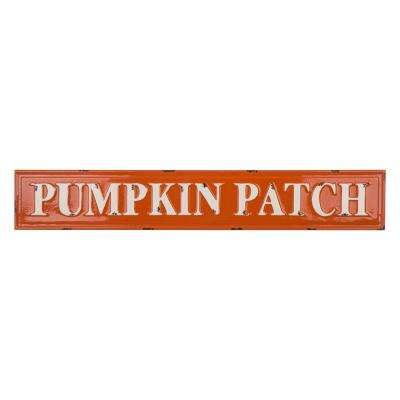 35.75 in. L x 5.75 in. H Enameled Metal Pumpkin Patch Wall Sign