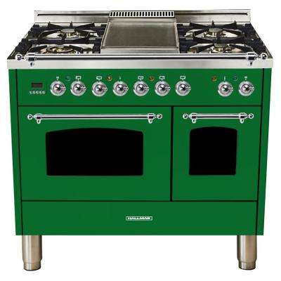 40 in. 4.0 cu. ft. Double Oven Dual Fuel Italian Range True Convection, 5 Burners, Griddle, Chrome Trim in Emerald Green