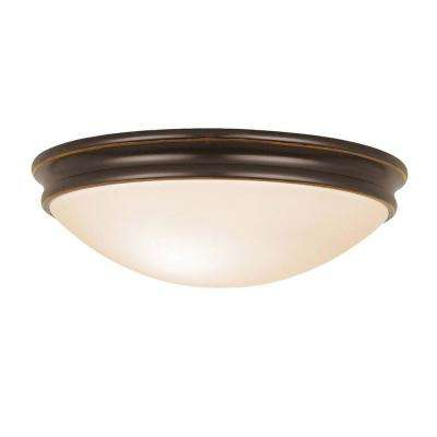 Atom 1-Light Oil Rubbed Bronze LED Flushmount with Opal Glass Shade