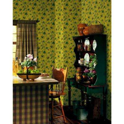 Northwoods Lodge Dark Yellow Pinecone Trail Wallpaper Sample