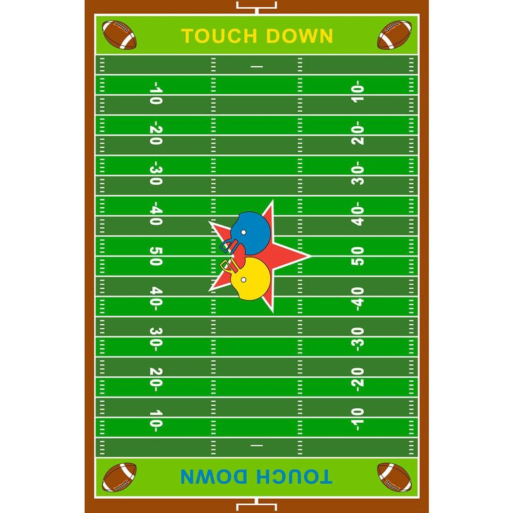 LA Rug Fun Time Shape Football Brown And White 28 In. X 45