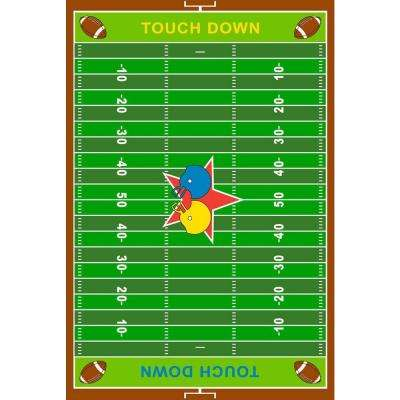 Fun Time Football Field Multi Colored 39 in. x 58 in. Area Rug