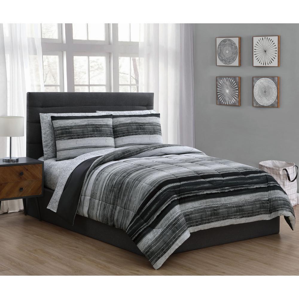 Laken 7 Piece Black Queen Bed In A Bag Set Lak7bbfuqughbk The