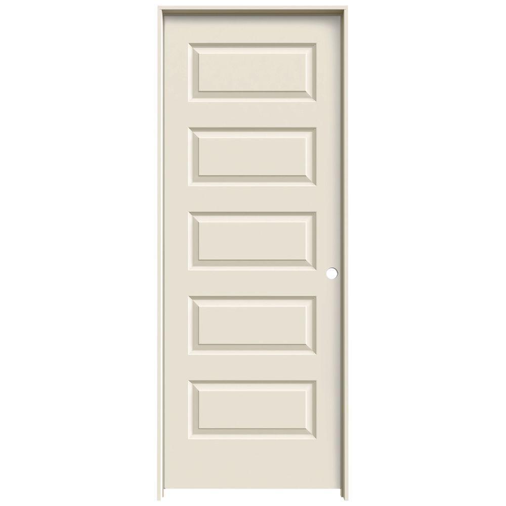 JELD-WEN 32 in. x 80 in. Rockport Primed Left-Hand Smooth Molded Composite MDF Single Prehung Interior Door