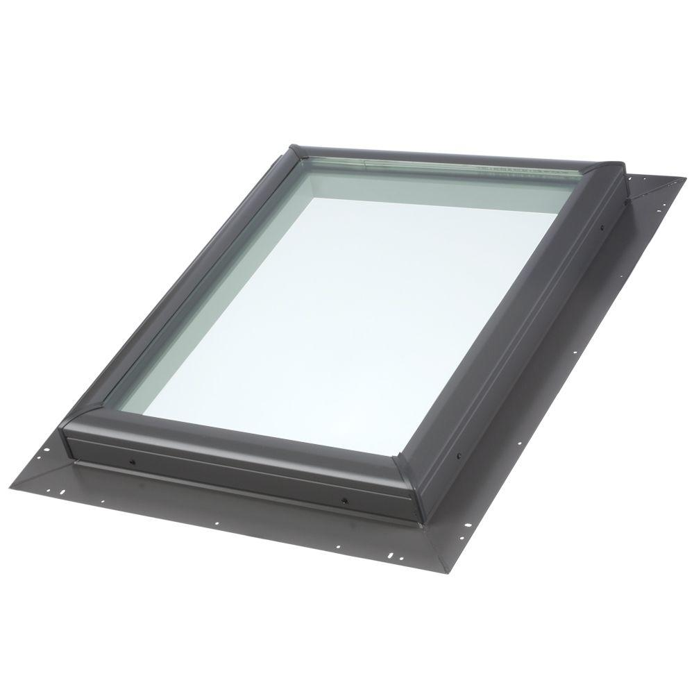 Velux 46 1 2 in x 46 1 2 in fixed pan flashed skylight for Velux glass