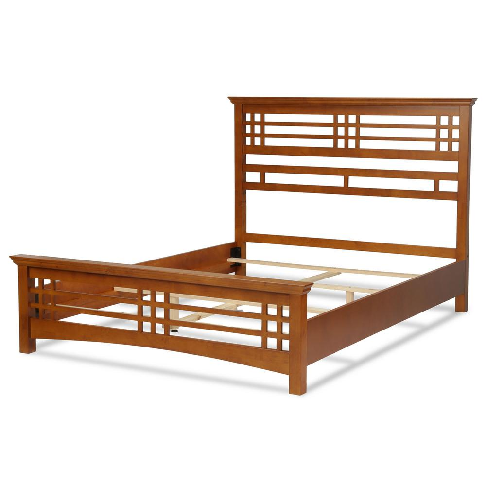 Avery Oak Queen Complete Bed with Wood Frame and Mission Style