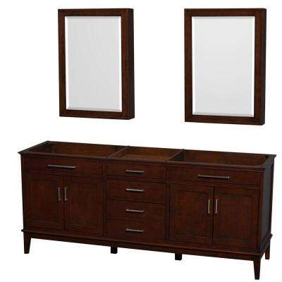 Hatton 78.5 in. Vanity Cabinet with Mirror Medicine Cabinet in Dark Chestnut