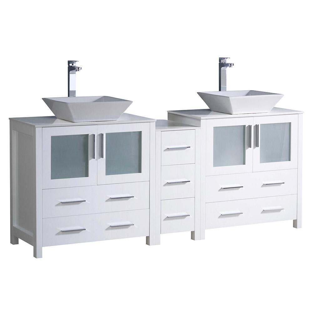Fresca Torino 72 in. Double Vanity in White with Glass Stone Vanity Top in White with White Basins