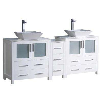 Torino 72 in. Double Vanity in White with Glass Stone Vanity Top in White with White Basins