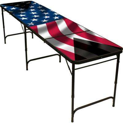 8 ft. Folding Beer Pong Table with Bottle Opener, Ball Rack and 6 Pong Balls - American Flag Design