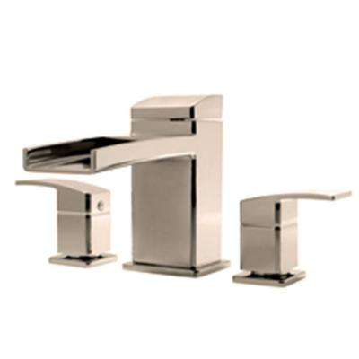 Kenzo 2-Handle Waterfall Deck Mount Roman Tub Faucet Trim Kit in Brushed Nickel (Valve Not Included)