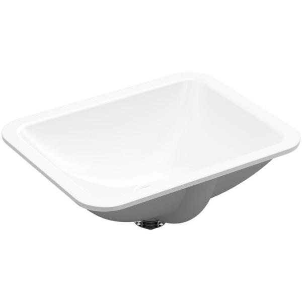 Caxton Undermount Rectangular Bathroom Sink with Overflow and Clamp Assembly in White