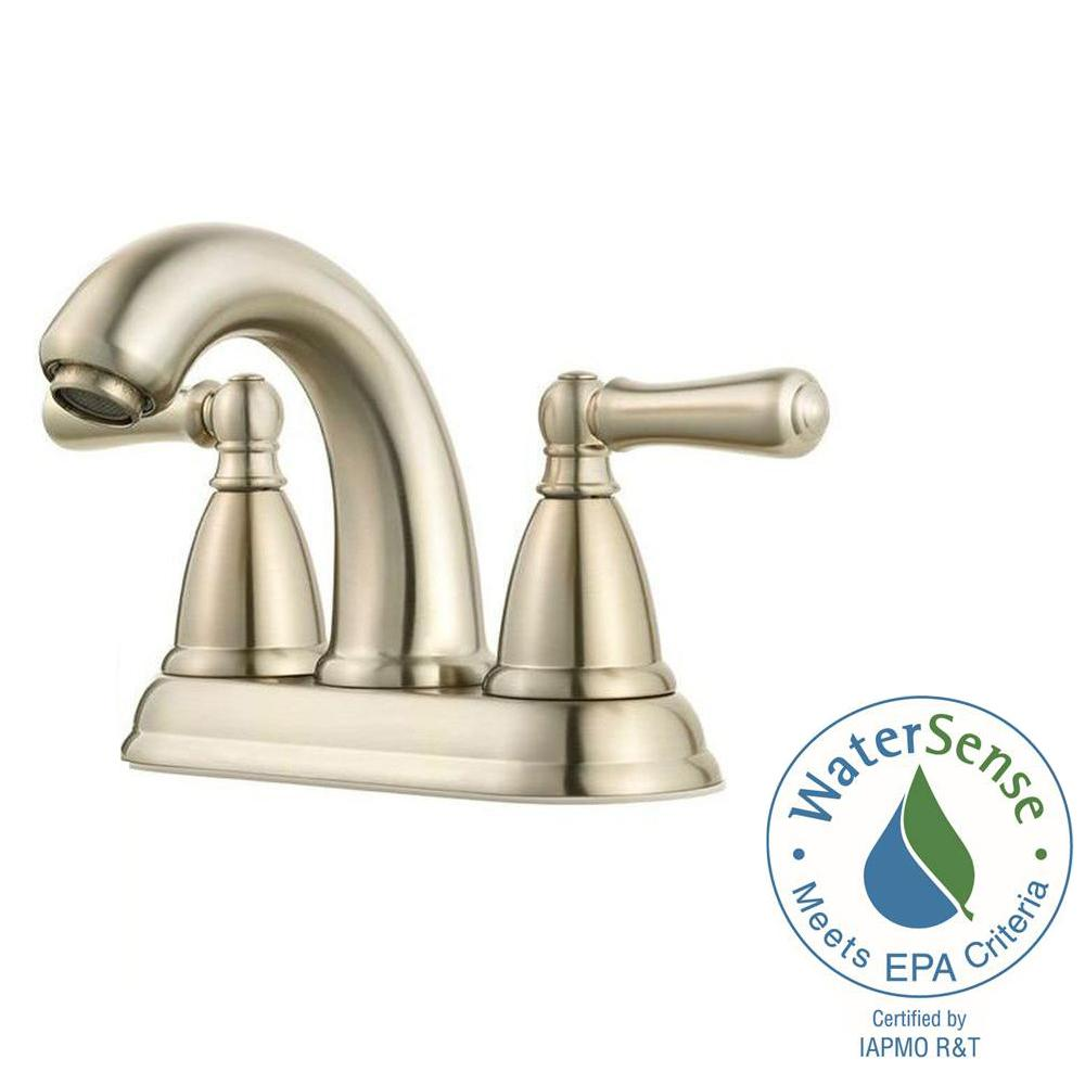 Pfister Canton 4 in. Centerset 2-Handle Bathroom Faucet in Brushed ...