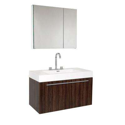 Vista 36 in. Vanity in Walnut with Acrylic Vanity Top in White with White Basin and Medicine Cabinet