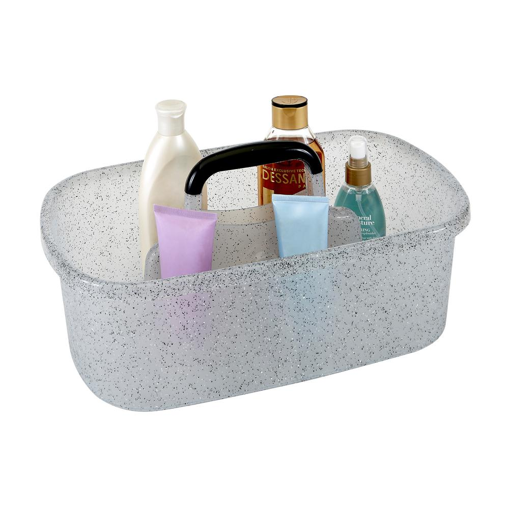 Simplify Granite Look Shower Caddy in Grey-26109-GREY - The Home Depot
