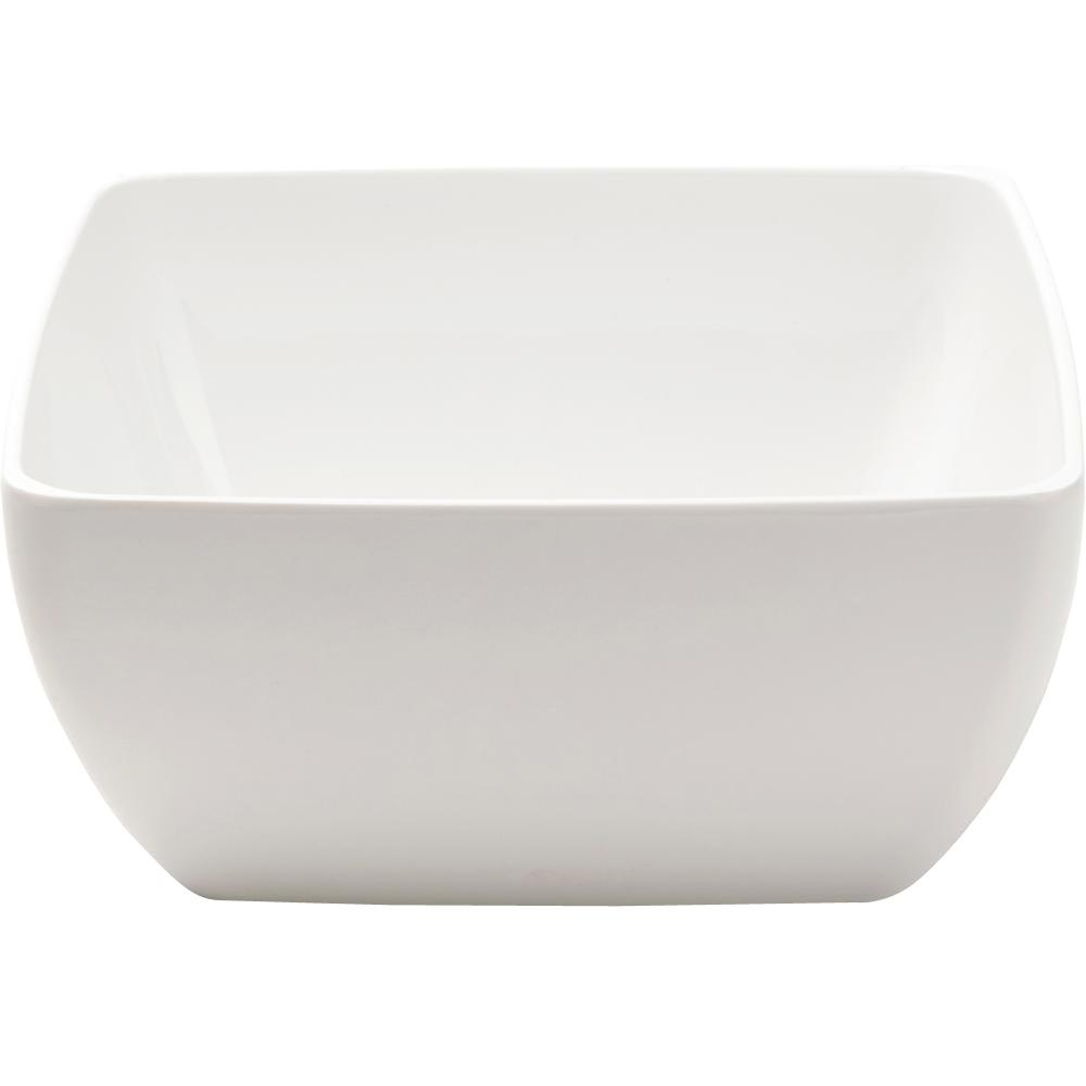 Diamond Square 5 in. Melamine Cereal Bowl in White (Set of