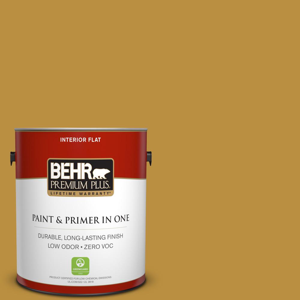 BEHR Premium Plus 1-gal. #340D-6 Fervent Brass Zero VOC Flat Interior Paint