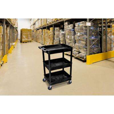 24 in. x 18 in. 3 Tub Shelf Plastic Cart, 4 in. Casters in Black