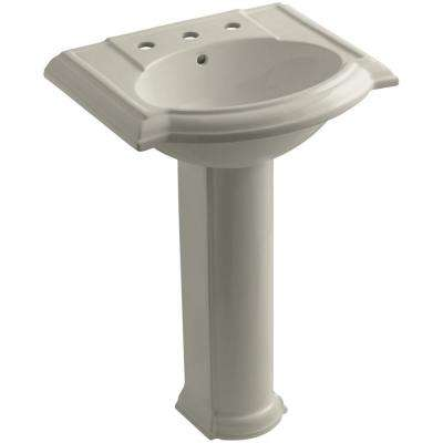 Devonshire Vitreous China Pedestal Combo Bathroom Sink with 8 in. Widespread Faucet Holes in Sandbar with Overflow Drain