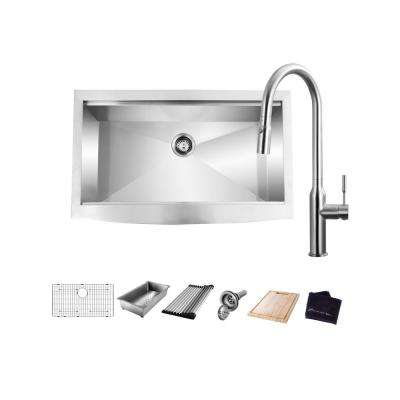 All-in-One Farmhouse/Apron-Front Stainless Steel 30 in. Single Bowl Workstation Sink with Faucet and Accessories