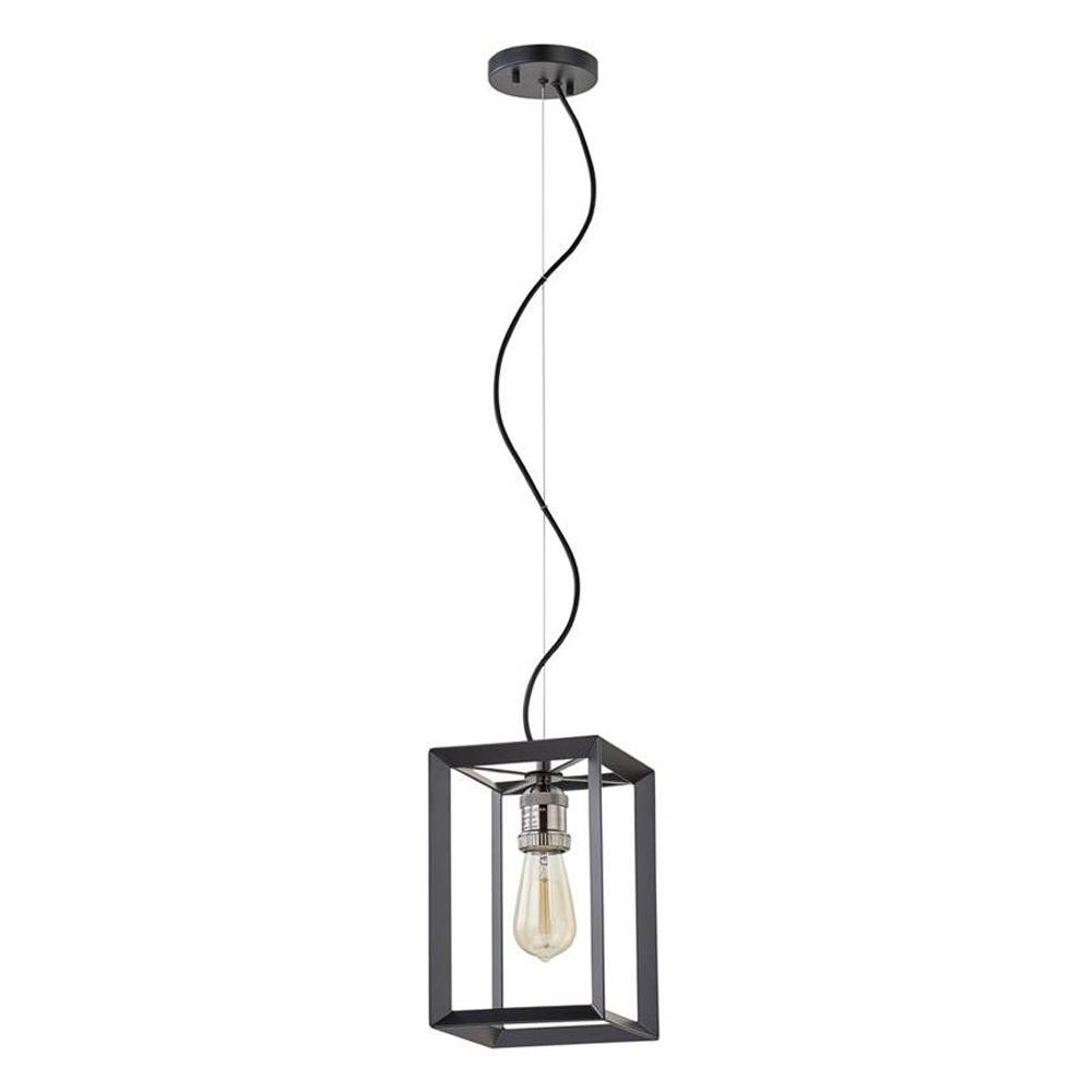 HomeDecoratorsCollection Home Decorators Collection Walden Forge 1-Light Black Frame Pendant with Antique Nickel