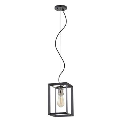Walden Forge 1-Light Black Frame Pendant with Antique Nickel